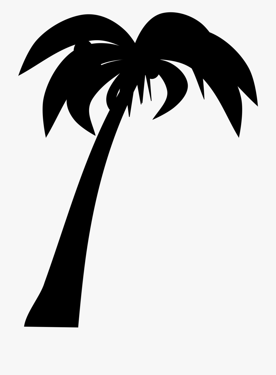 Palm Tree Clipart Black And White Png - Coconut Tree Silhouette ...