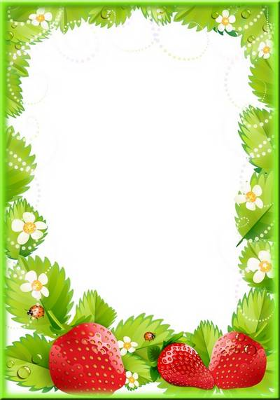 Fruit photo frame template psd file with strawberry. Transparent ...