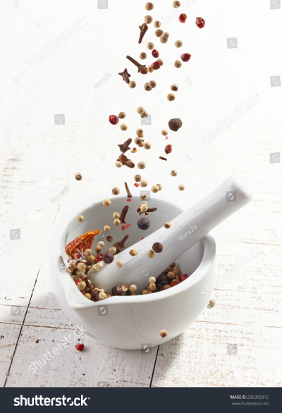 Various Spices Falling Into Mortar Pestle Stock Photo (Edit Now ...