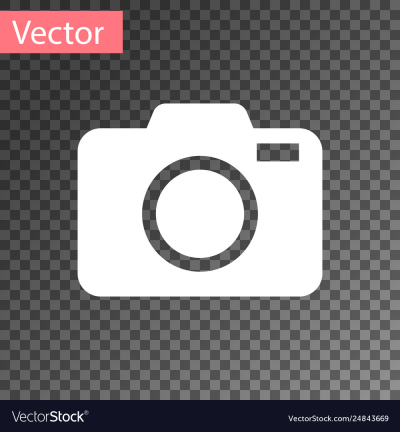White photo camera icon isolated on transparent Vector Image