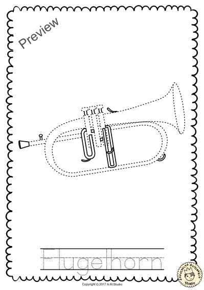 Brass Instruments Trace and Color Pages | Brass musical ...