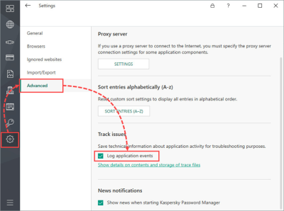 How to generate Kaspersky Password Manager 9 for Windows trace files