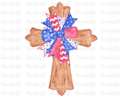 Patriotic Cross USA Bow Hand Drawn Watercolor Sublimation | PNGio