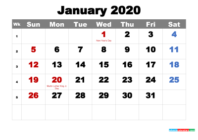 Free Printable January 2020 Calendar with Holidays as Word, PDF ...