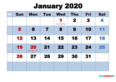 Free Printable 2020 Calendar January as Word, PDF | Free Printable ...