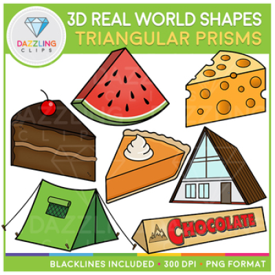 3D Shapes Real Life Objects Clip Art: Triangular Prisms by ...
