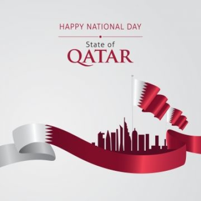 Vector Of National Day In Arabic Calligraphy Style With Qatar ...