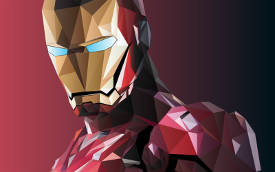 Download wallpapers Iron Man, low poly, superheroes, mosaic, DC ...