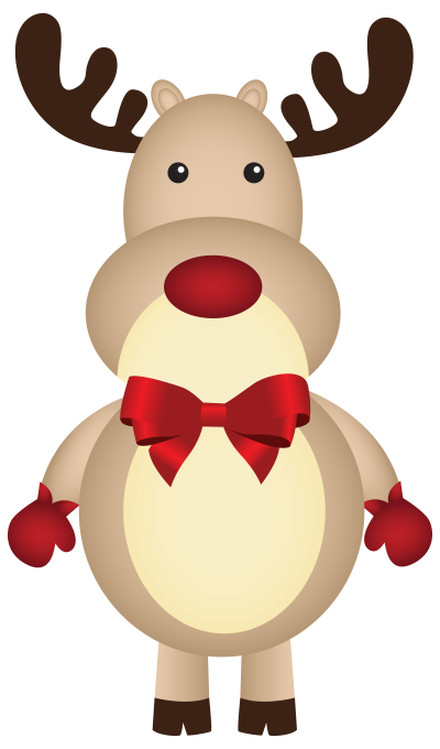 Christmas Rudolph with Bow PNG Clipart Image | Gallery ...