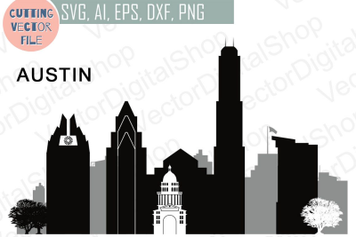 Austin Vector, Texas Skyline USA city, SVG, JPG, PNG, DWG, CDR ...