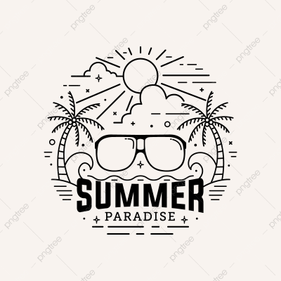 Summer Paradise Badge Flat Style With Line Art Vector Illustration ...