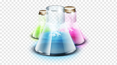Glass liquid, Lab, three assorted-color flasks with liquids ...
