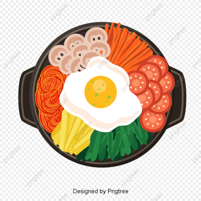 Hearty Cartoon Korean Food, Egg, Bean Sprouts, Chive PNG and ...