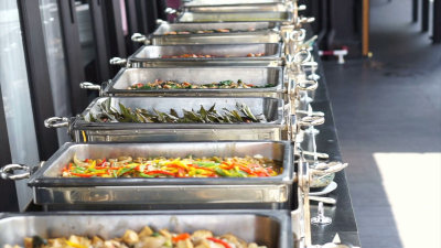 Thai food buffet line. Delicious cuisine party catering Stock ...