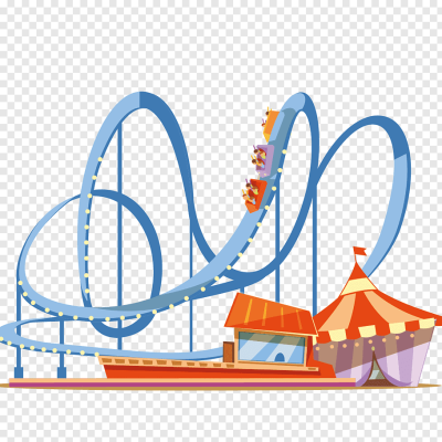 Orange and blue roller coaster illustration, Coney Island ...