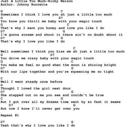 Country Music:Just A Little Too Much-Ricky Nelson Lyrics and Chords