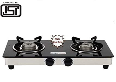 Buy Bright Flame 2 Burner Glass Top Png Gas Stove (Small, Black ...