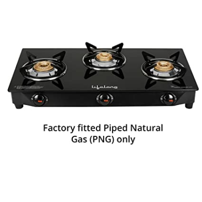 Buy Lifelong LLGS108 PNG Fitted, Glass Top Gas Stove, 3 Burner ...