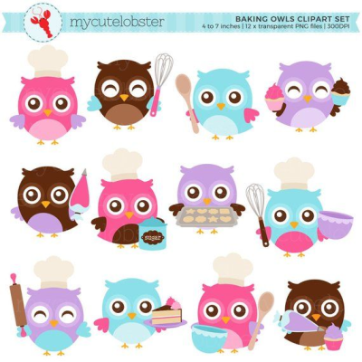 Baking Owls Clipart Set - clip art set of cute owls baking, whisk ...