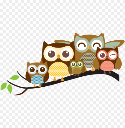 clip art transparent stock cute owl family clipart - owl family ...