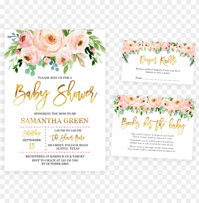 ink and gold floral baby shower invitation pack - baby girl shower ...