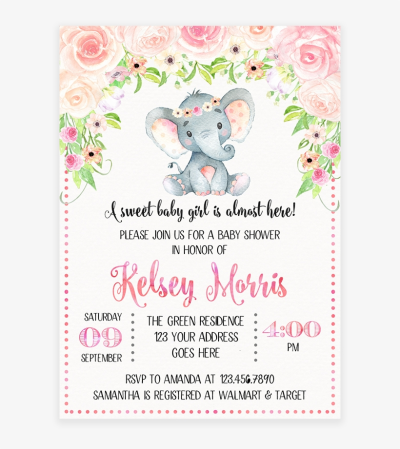 Blush Pink Floral Elephant Baby Shower Invitation Printable ...