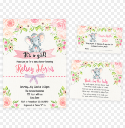 blush pink floral elephant baby shower invitation pack PNG image ...