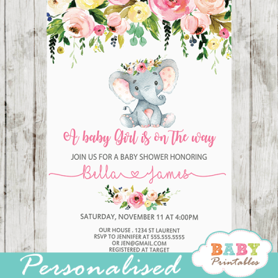 Pink Floral Elephant Baby Shower Invitations Girl - D431 (With ...