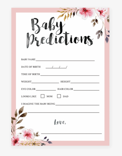 Girl Baby Shower Printables, Wishes For Baby, Watercolor - Flower ...