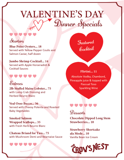 Valentines Menu 2020 PNG-01 – The Crow's Nest Restaurant & Marina