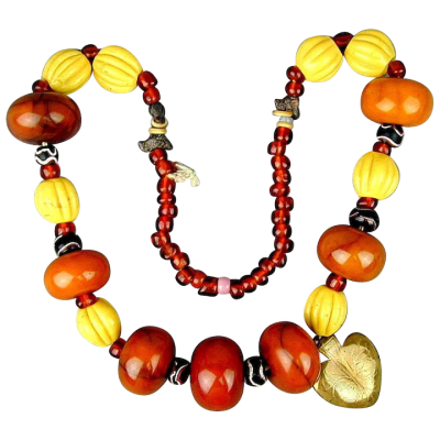 Huge Old Tribal Amber Bakelite Bead Necklace w/ Old Glass Trade ...