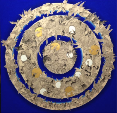 Bird Mandala (Blue) by Contemporary Tibetan Artist Pema Rinzin ...