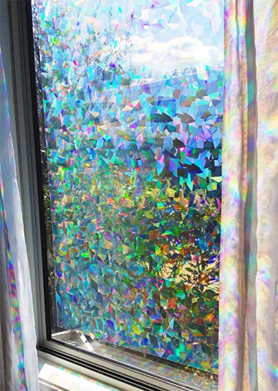 Amazon.com: Decorative Rainbow Window Film Holographic Prismatic ...