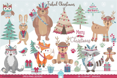 Tribal Christmas Woodland Animals Clipart (104937) | Characters ...