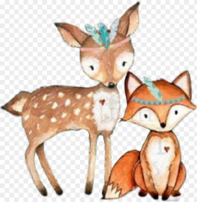tribal #fox #deer #woodland #forest #animals - deer nursery print ...