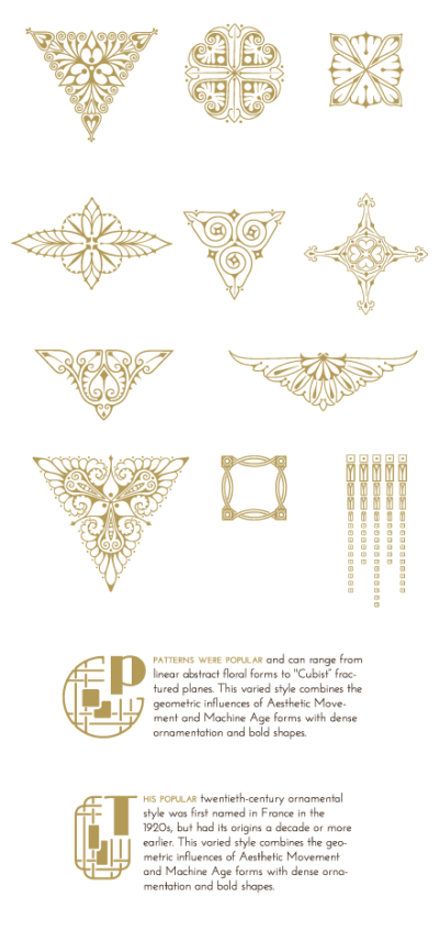 Art Deco Illustrations and Decorative Ornaments. Download 90 ...