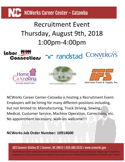 Recruitment Event on August 9, 1 PM to 4 PM at the NCWorks Career ...