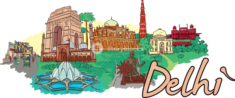 Delhi Vector Doodle Royalty-Free Stock Image - Storyblocks