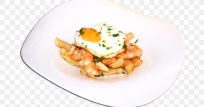 Vegetarian Cuisine Gambas Al Ajillo Fried Egg French Fries ...