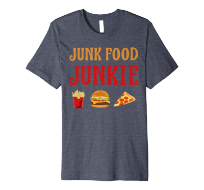 Amazon.com: Junk Food Junkie Fast Food Fries Burger Pizza T-Shirt ...