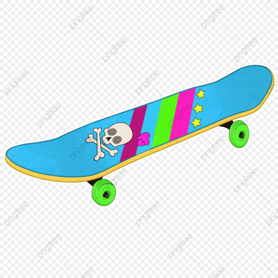 Skate Board In Neon 80s Colors, Rainbow, Blue, Skateboard PNG ...