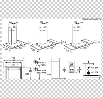 Exhaust Hood Stainless Steel AEG Technical Drawing Umluft PNG ...