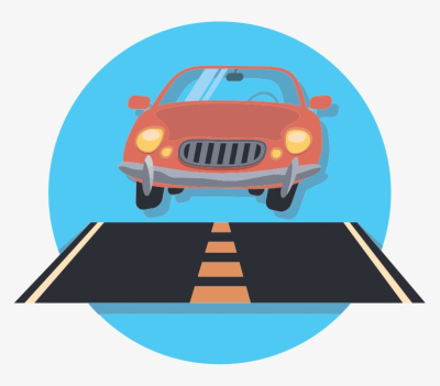 Car And Road Icon Graphic Free Download - Car On Road Clip Art ...