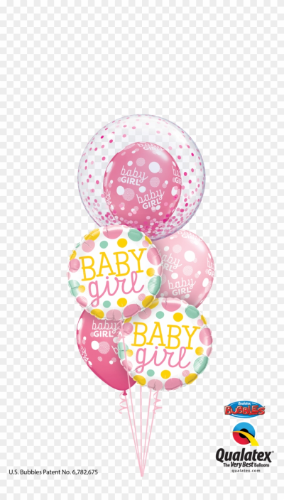 Baby Girl Confetti Bubble Balloon - Qualatex, HD Png Download ...
