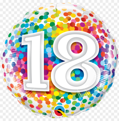 18th birthday confetti design foil balloon - ballon anniversaire ...