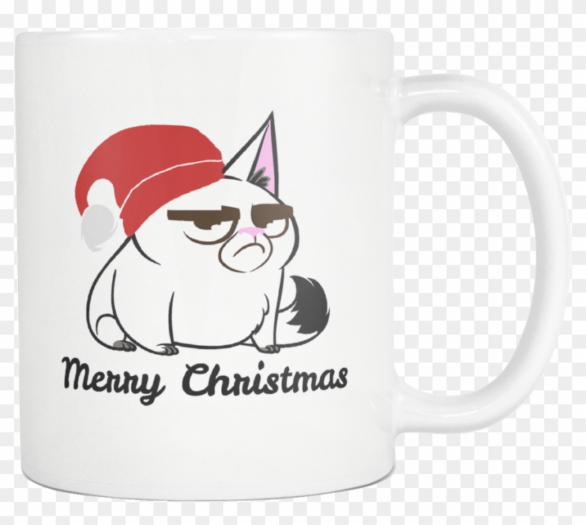 Merry Christmas Grumpy Cat White Mug - French Bulldog, HD Png ...