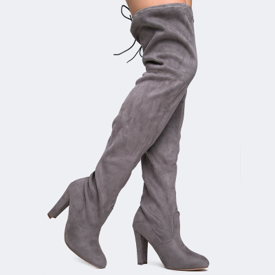Chase + Chloe Drawstring Thigh High Boots in Grey – Unicorn Goods
