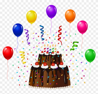 Free Png Download Birthday Cake With Confetti And Balloons - Cake ...