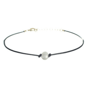 Single Pearl Pendant Black Cord Choker | Pearl Choker Necklace ...