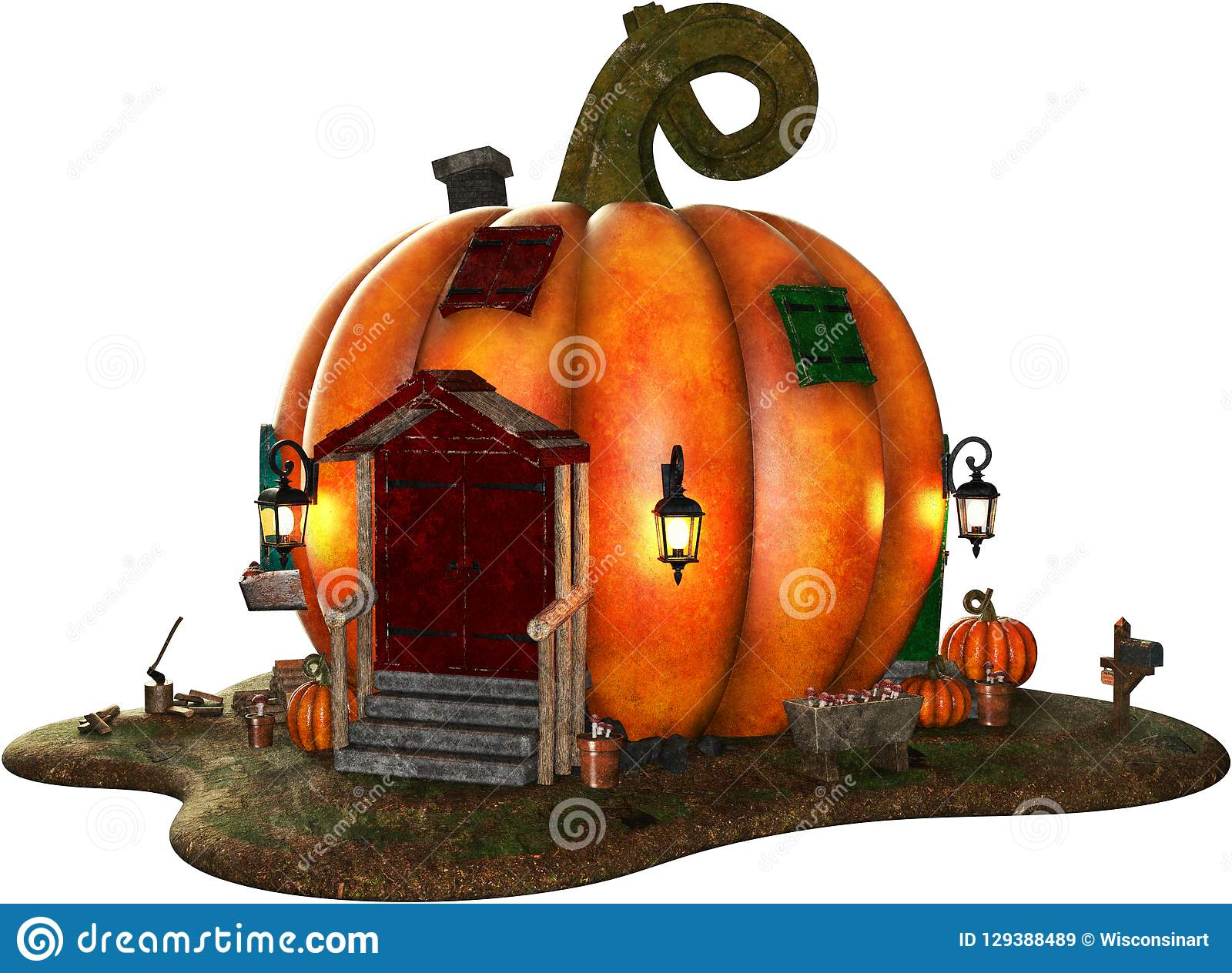 Halloween Pumpin House, Home Isolated Stock Image - Illustration ...